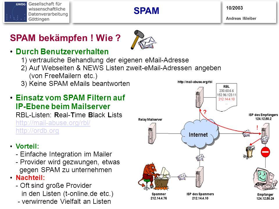 7 SPAM 10/2003 Andreas Ißleiber SPAM bekämpfen ! Wie ? Durch Benutzerverhalten 1)vertrauliche Behandlung der eigenen eMail-Adresse 2)Auf Webseiten & N