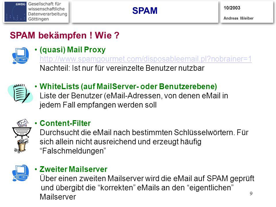 9 SPAM 10/2003 Andreas Ißleiber (quasi) Mail Proxy http://www.spamgourmet.com/disposableemail.pl?nobrainer=1 Nachteil: Ist nur für vereinzelte Benutze