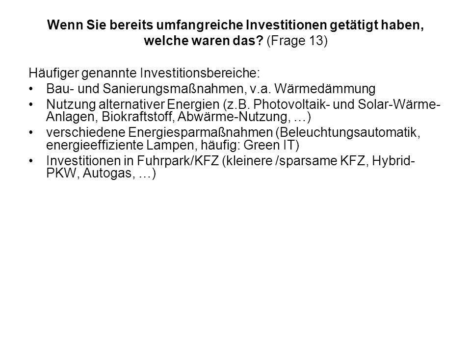 Wenn Sie bereits umfangreiche Investitionen getätigt haben, welche waren das? (Frage 13) Häufiger genannte Investitionsbereiche: Bau- und Sanierungsma