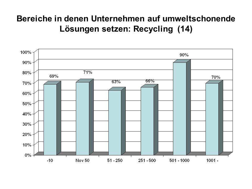 Bereiche in denen Unternehmen auf umweltschonende Lösungen setzen: Recycling (14)