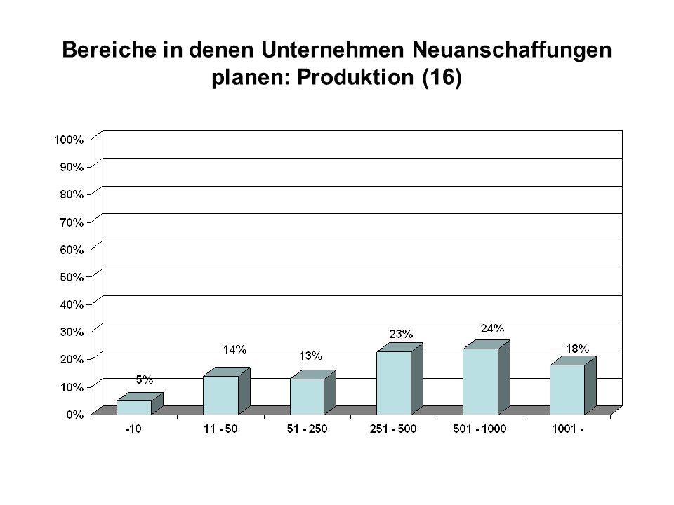 Bereiche in denen Unternehmen Neuanschaffungen planen: Produktion (16)