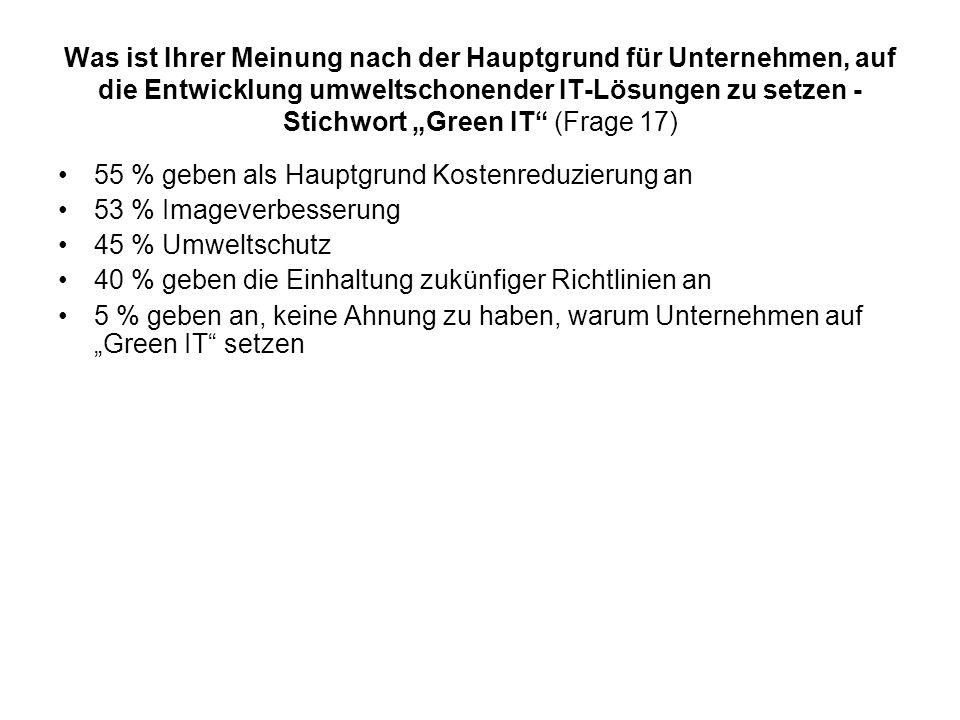 Was ist Ihrer Meinung nach der Hauptgrund für Unternehmen, auf die Entwicklung umweltschonender IT-Lösungen zu setzen - Stichwort Green IT (Frage 17)