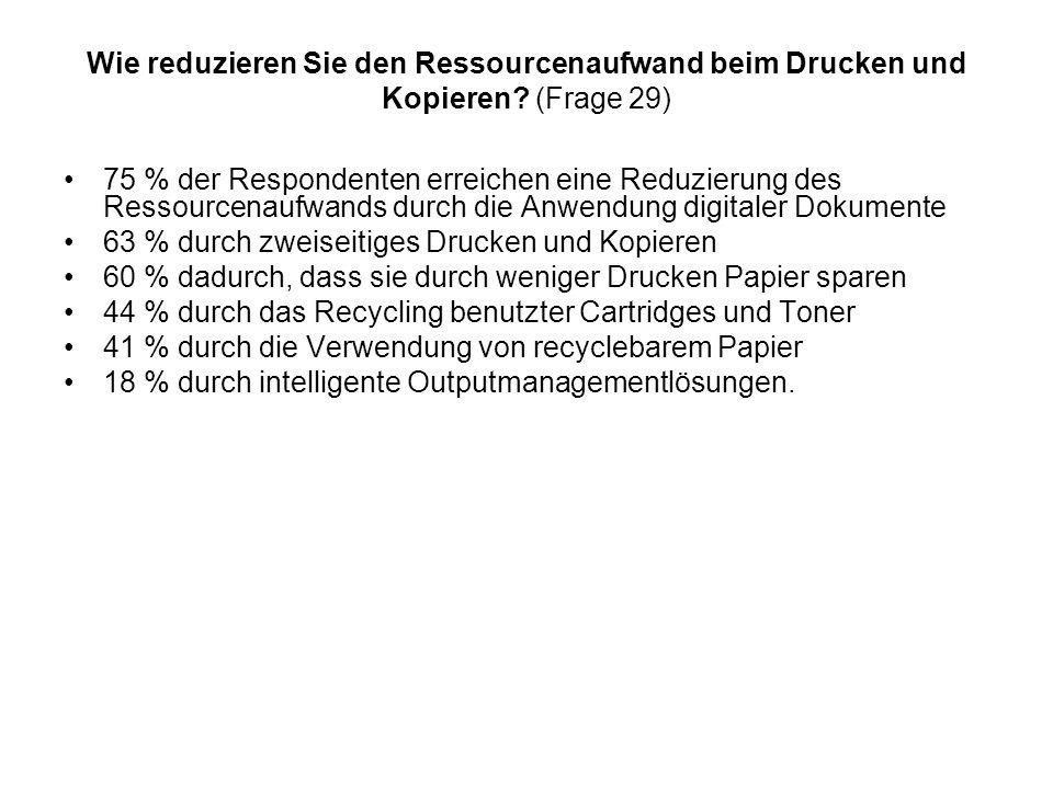 Wie reduzieren Sie den Ressourcenaufwand beim Drucken und Kopieren? (Frage 29) 75 % der Respondenten erreichen eine Reduzierung des Ressourcenaufwands