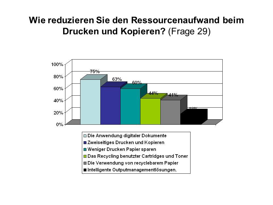 Wie reduzieren Sie den Ressourcenaufwand beim Drucken und Kopieren? (Frage 29)