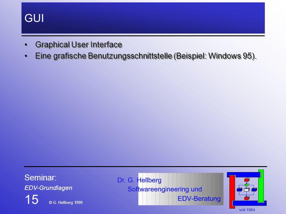 Seminar: EDV-Grundlagen 15 © G. Hellberg 1999 GUI Graphical User Interface Eine grafische Benutzungsschnittstelle (Beispiel: Windows 95). Graphical Us