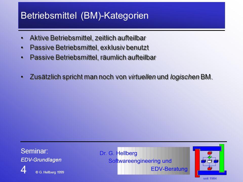Seminar: EDV-Grundlagen 4 © G. Hellberg 1999 Betriebsmittel (BM)-Kategorien Aktive Betriebsmittel, zeitlich aufteilbar Passive Betriebsmittel, exklusi