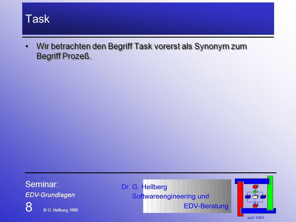Seminar: EDV-Grundlagen 8 © G. Hellberg 1999 Task Wir betrachten den Begriff Task vorerst als Synonym zum Begriff Prozeß.