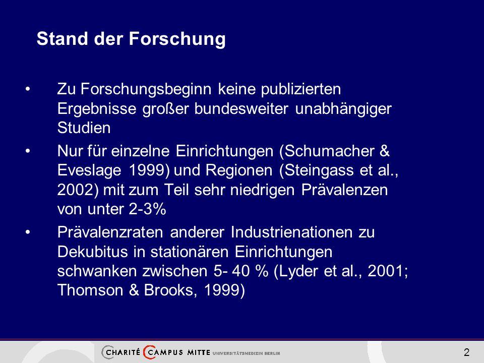 2 Stand der Forschung Zu Forschungsbeginn keine publizierten Ergebnisse großer bundesweiter unabhängiger Studien Nur für einzelne Einrichtungen (Schum