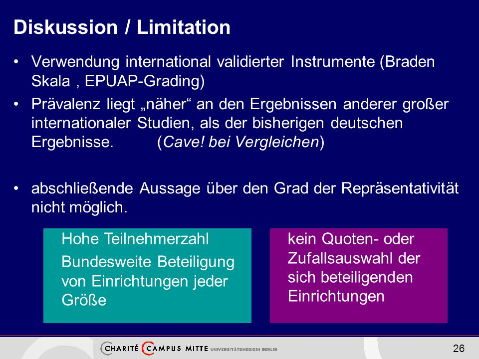 26 Diskussion / Limitation Verwendung international validierter Instrumente (Braden Skala, EPUAP-Grading) Prävalenz liegt näher an den Ergebnissen and