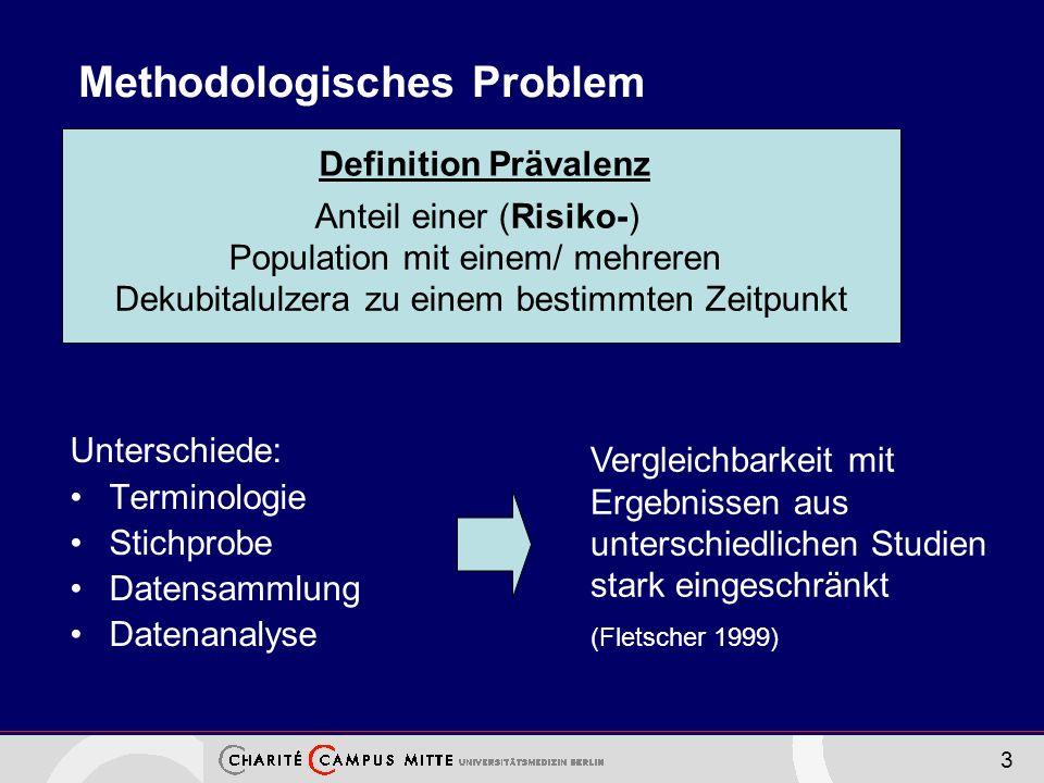 3 Methodologisches Problem Unterschiede: Terminologie Stichprobe Datensammlung Datenanalyse Anteil einer (Risiko-) Population mit einem/ mehreren Dekubitalulzera zu einem bestimmten Zeitpunkt Definition Prävalenz Vergleichbarkeit mit Ergebnissen aus unterschiedlichen Studien stark eingeschränkt (Fletscher 1999)