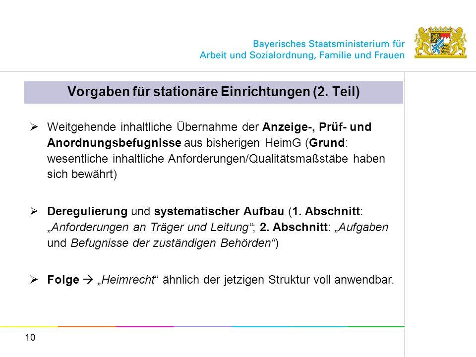 10 Vorgaben für stationäre Einrichtungen (2. Teil) Weitgehende inhaltliche Übernahme der Anzeige-, Prüf- und Anordnungsbefugnisse aus bisherigen HeimG
