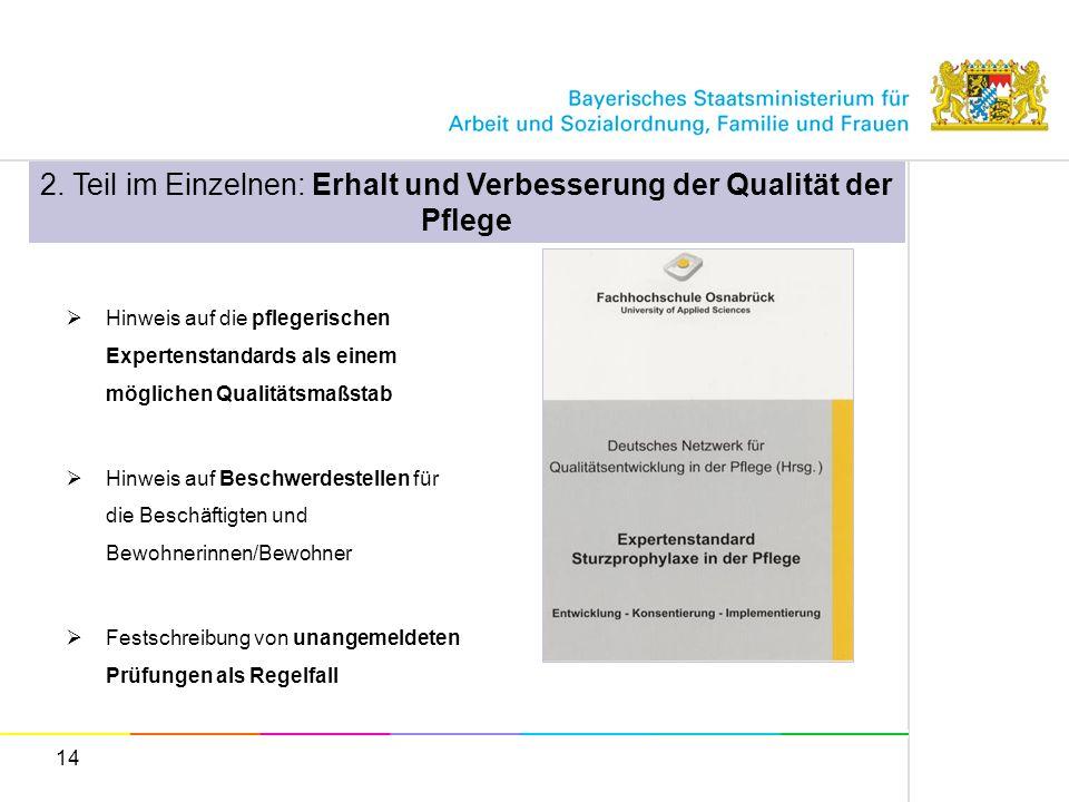 14 Hinweis auf die pflegerischen Expertenstandards als einem möglichen Qualitätsmaßstab Hinweis auf Beschwerdestellen für die Beschäftigten und Bewohn