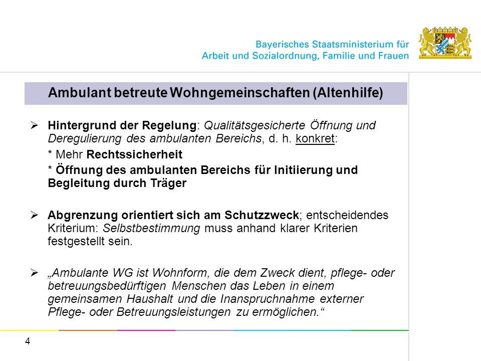 4 Ambulant betreute Wohngemeinschaften (Altenhilfe) Hintergrund der Regelung: Qualitätsgesicherte Öffnung und Deregulierung des ambulanten Bereichs, d