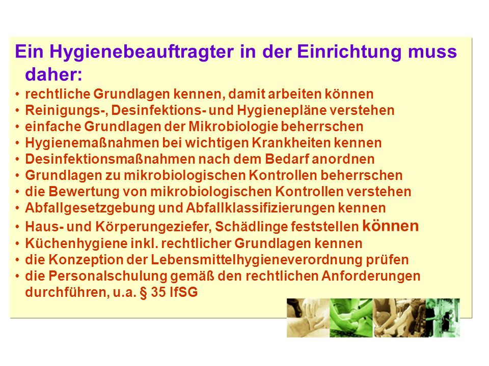 Übliche Hygienemaßnahmen in der Altenpflege Desinfektion Abtötung bzw.