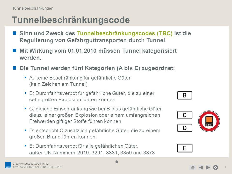 Unterweisungspaket Gefahrgut © WEKA MEDIA GmbH & Co. KG | 07/2010 1 Tunnelbeschränkungscode Tunnelbeschränkungen Sinn und Zweck des Tunnelbeschränkung