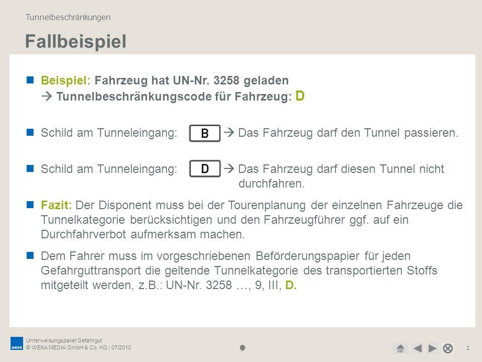 Unterweisungspaket Gefahrgut © WEKA MEDIA GmbH & Co. KG | 07/2010 2 Fallbeispiel Tunnelbeschränkungen Beispiel: Fahrzeug hat UN-Nr. 3258 geladen Tunne