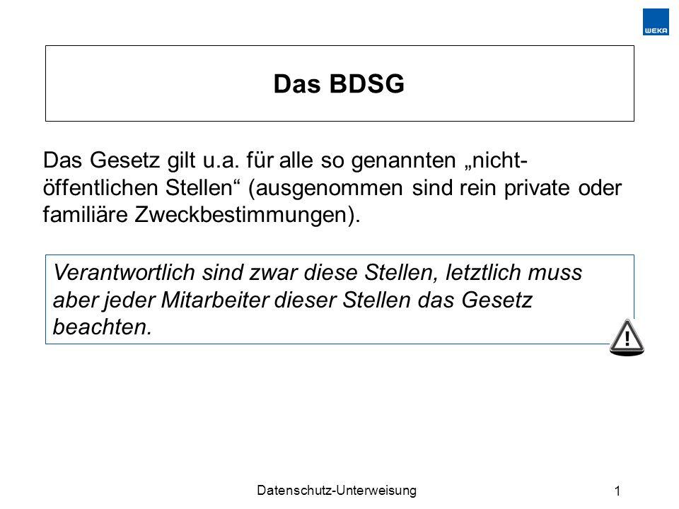 Datenschutz-Unterweisung 1 Das BDSG Das Gesetz gilt u.a.