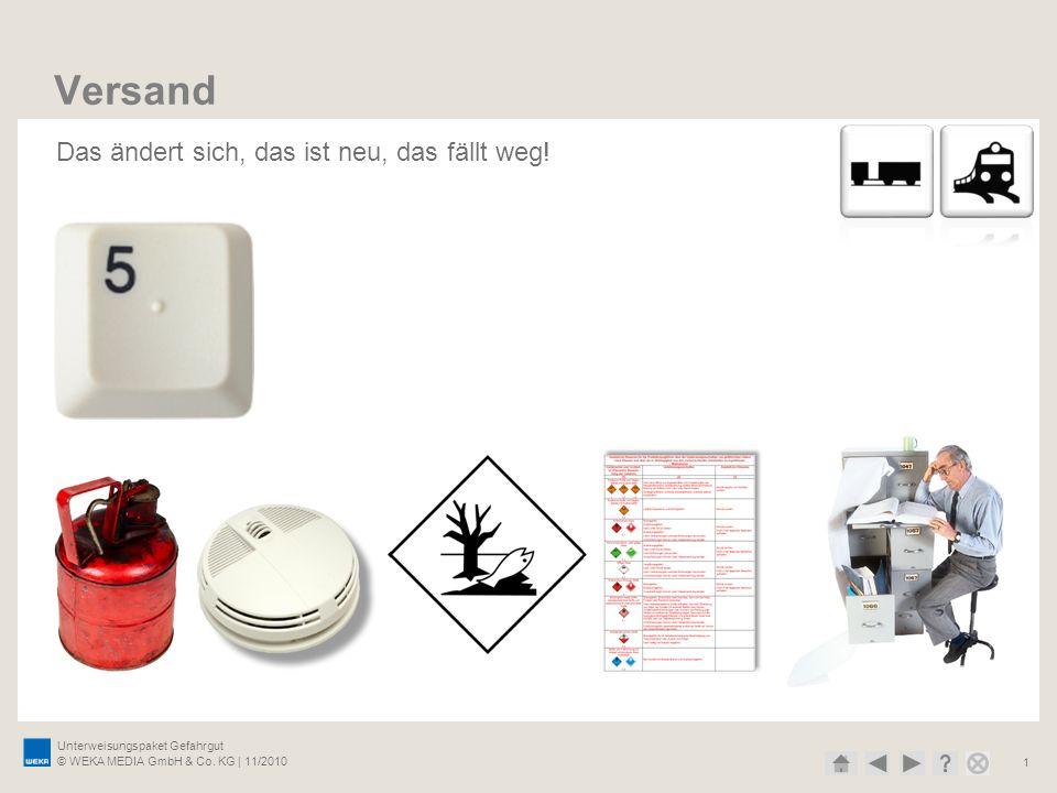 Unterweisungspaket Gefahrgut © WEKA MEDIA GmbH & Co. KG | 11/2010 1 Versand Das ändert sich, das ist neu, das fällt weg!