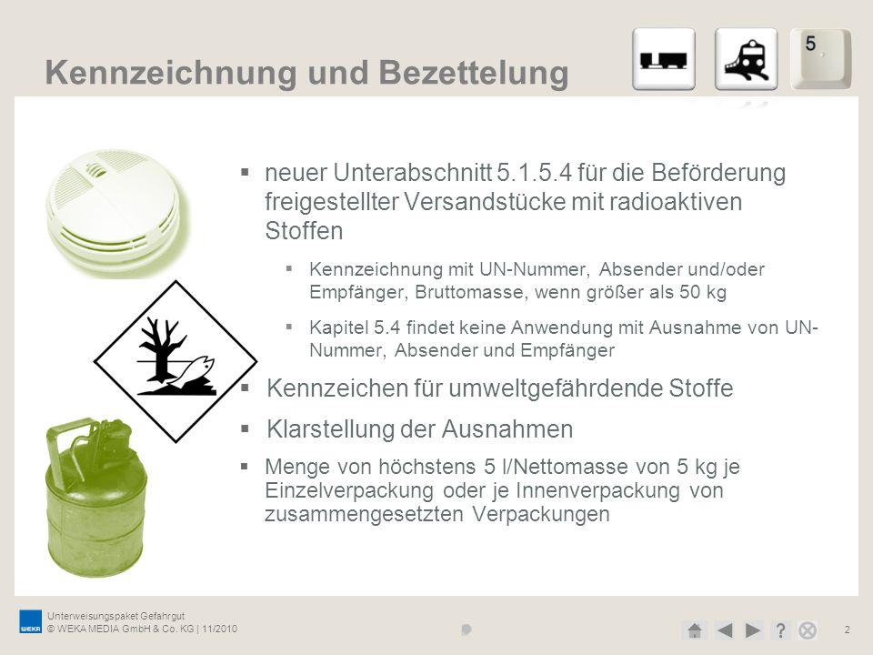 Unterweisungspaket Gefahrgut © WEKA MEDIA GmbH & Co. KG | 11/2010 2 Kennzeichnung und Bezettelung neuer Unterabschnitt 5.1.5.4 für die Beförderung fre