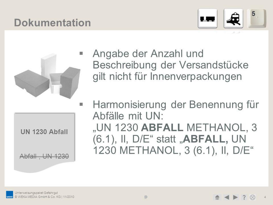 Unterweisungspaket Gefahrgut © WEKA MEDIA GmbH & Co. KG | 11/2010 4 Dokumentation Angabe der Anzahl und Beschreibung der Versandstücke gilt nicht für