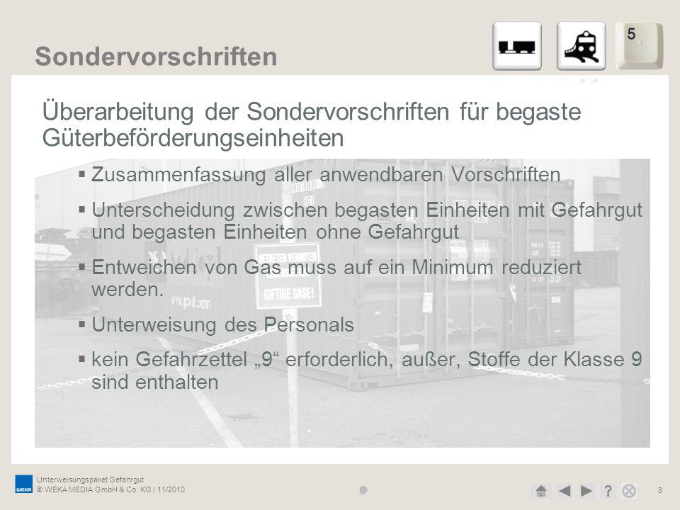 Unterweisungspaket Gefahrgut © WEKA MEDIA GmbH & Co. KG | 11/2010 8 Sondervorschriften Überarbeitung der Sondervorschriften für begaste Güterbeförderu