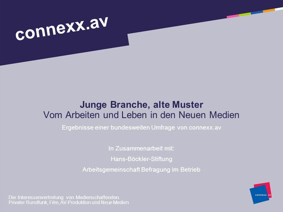Junge Branche, alte Muster Vom Arbeiten und Leben in den Neuen Medien Ergebnisse einer bundesweiten Umfrage von connexx.av In Zusammenarbeit mit: Hans