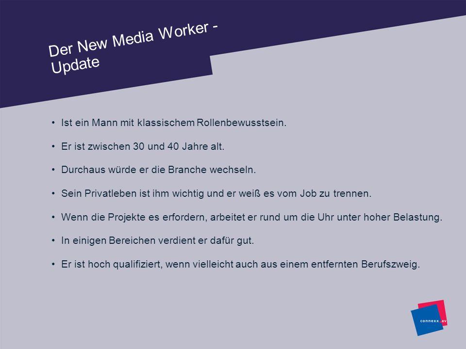 Der New Media Worker - Update Ist ein Mann mit klassischem Rollenbewusstsein. Er ist zwischen 30 und 40 Jahre alt. Durchaus würde er die Branche wechs