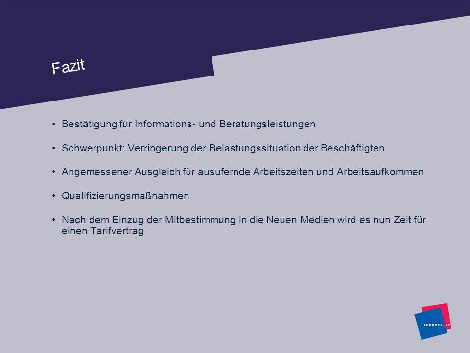 Fazit Bestätigung für Informations- und Beratungsleistungen Schwerpunkt: Verringerung der Belastungssituation der Beschäftigten Angemessener Ausgleich
