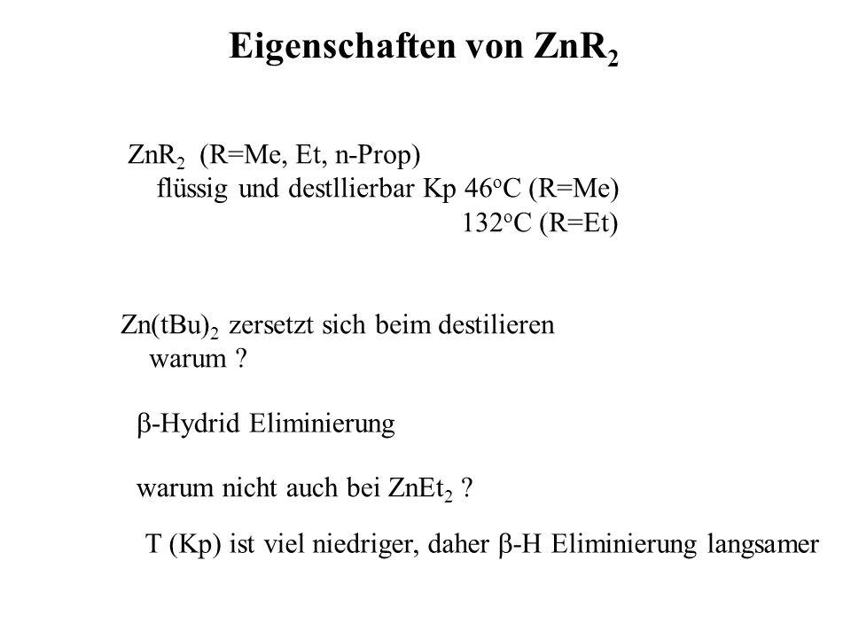Me 2 Cd(bipy) bipy + CdMe 2 HV Me 2 Zn(bipy) Bildung von At-Komplexen ZnCl 2 + 4 MeLi Li 2 [ZnMe 4 ] + 4 LiCl ZnEt 2 + ZnH 2 Py 3z-2e - -Bindung