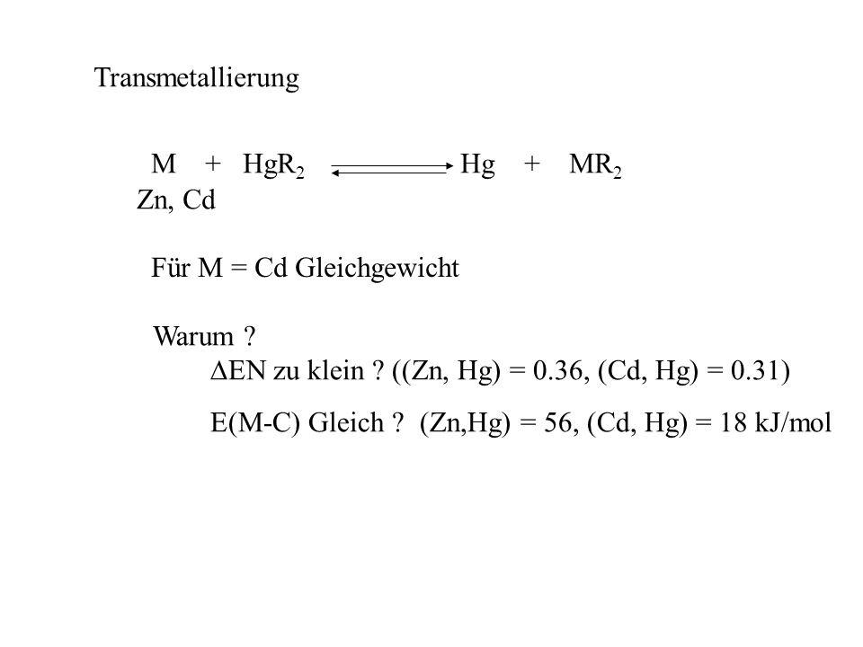 Synthese MR 2 (M=Zn, Cd): Direktsynthese destillierbar EtI + Zn(Cu) Et-Zn-I Et 2 Zn (fl) + ZnI 2 T EtI + Cd Et-Cd-I Et 2 Cd + CdI 2 nicht zu trennen