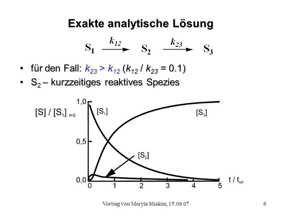 Vortrag von Maryia Shakun, 15.06.076 Exakte analytische Lösung für den Fall: k 23 > k 12 (k 12 / k 23 = 0.1)für den Fall: k 23 > k 12 (k 12 / k 23 = 0