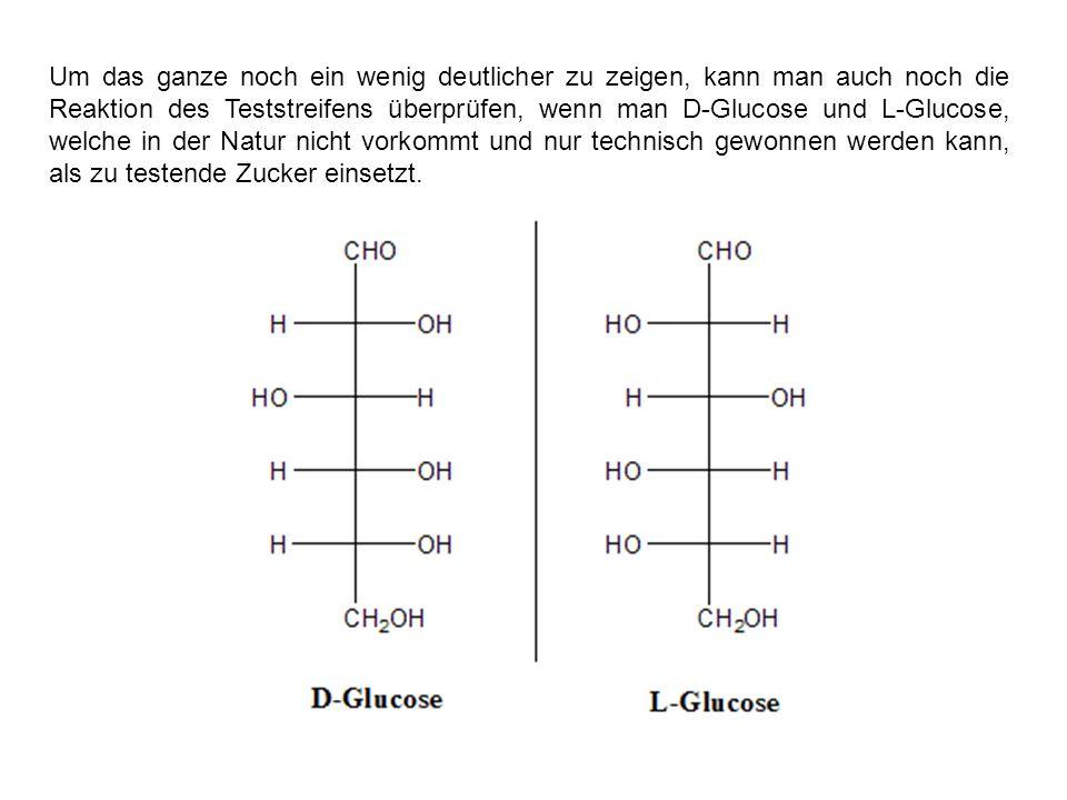 Um das ganze noch ein wenig deutlicher zu zeigen, kann man auch noch die Reaktion des Teststreifens überprüfen, wenn man D-Glucose und L-Glucose, welc