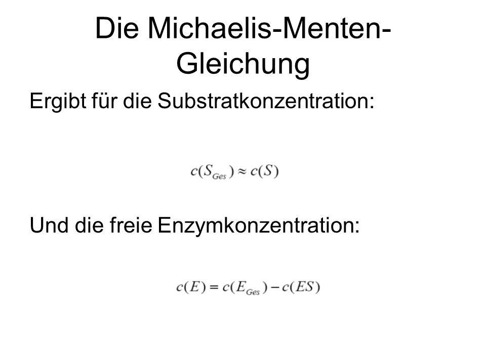Die Michaelis-Menten- Gleichung Ergibt für die Substratkonzentration: Und die freie Enzymkonzentration: