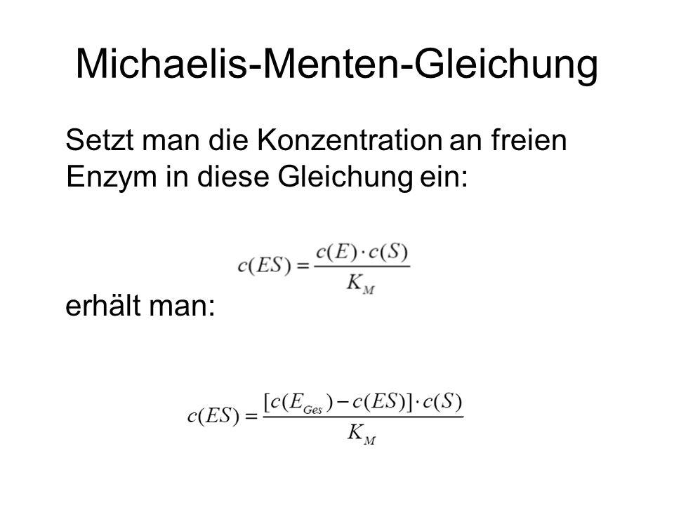 Michaelis-Menten-Gleichung Setzt man die Konzentration an freien Enzym in diese Gleichung ein: erhält man: