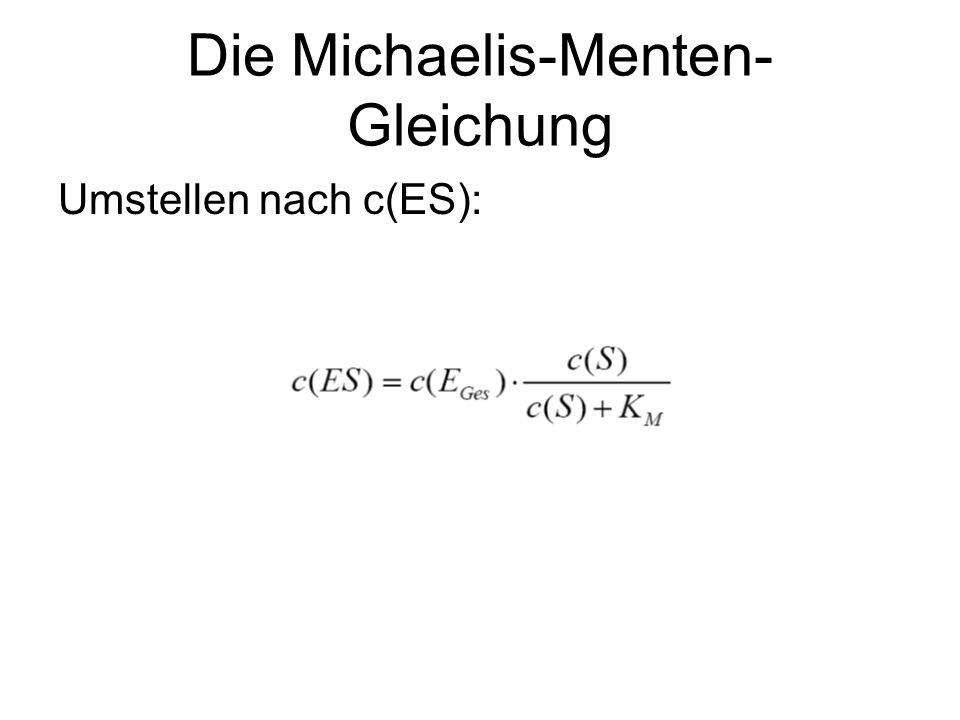 Die Michaelis-Menten- Gleichung Umstellen nach c(ES):