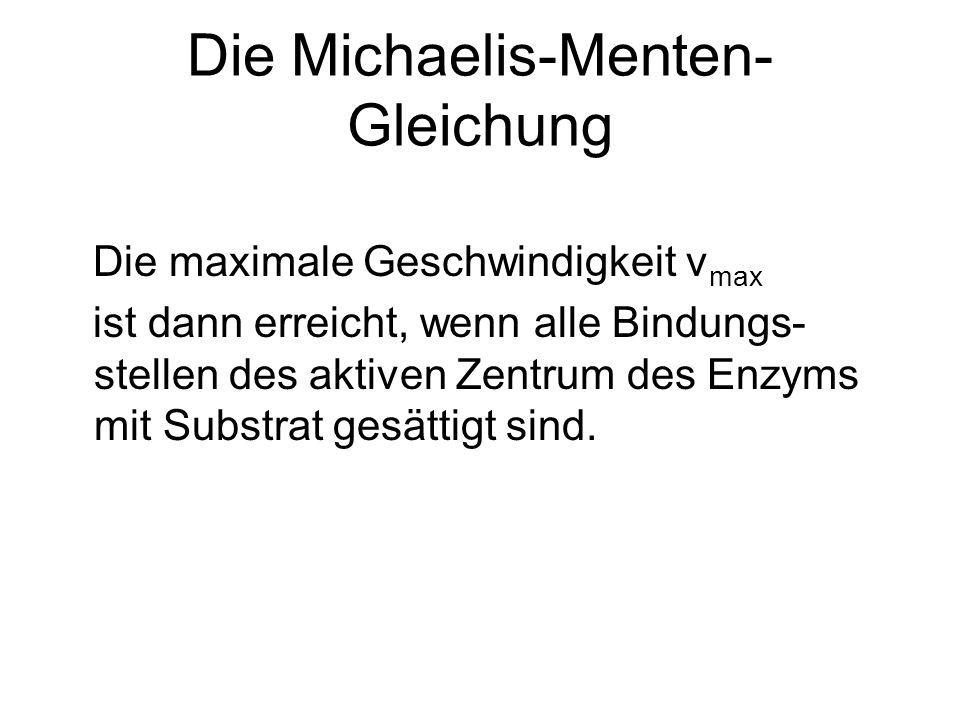 Die Michaelis-Menten- Gleichung Die maximale Geschwindigkeit v max ist dann erreicht, wenn alle Bindungs- stellen des aktiven Zentrum des Enzyms mit S