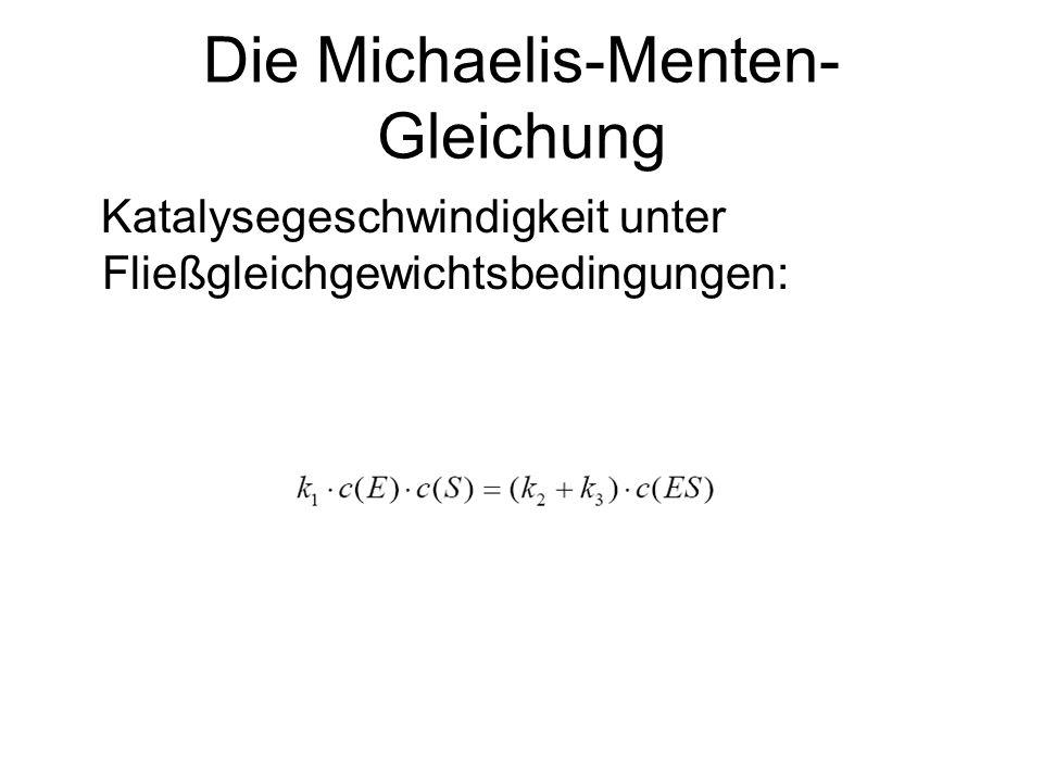 Die Michaelis-Menten- Gleichung Umstellen nach der unbekannten Konzentration von ES: