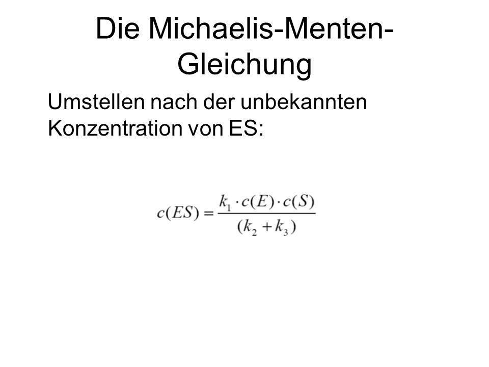 Die Lineweaver-Burk- Auftragung Die rechtwinklige Hyperbel bei Michaelis- Menten kann man in eine Geraden- gleichung umwandeln: