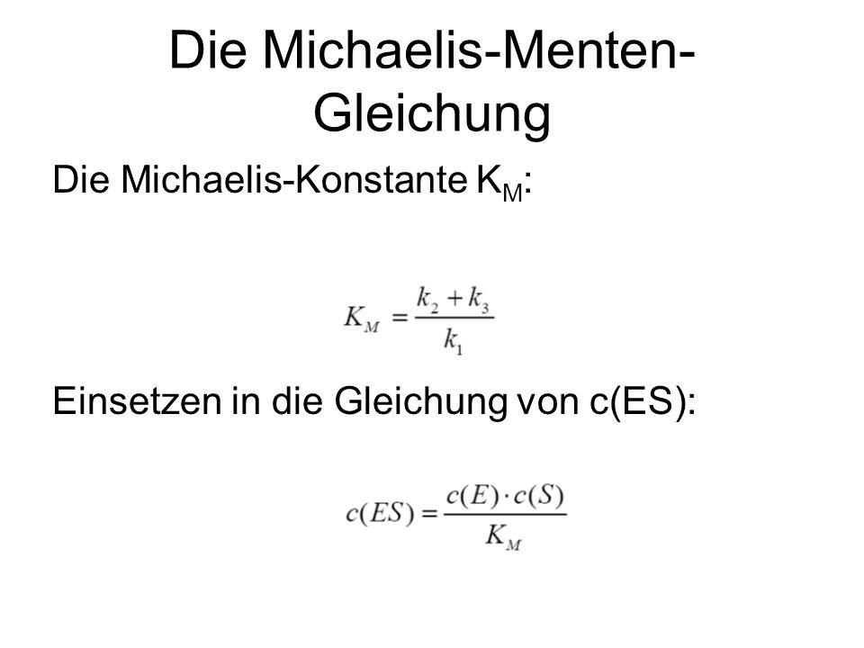 Die Michaelis-Menten- Gleichung Berechnung der Gesamtkonzentration an Substrat: Annahme: Es ist sehr viel mehr Substrat als freies Enzym vorhanden.