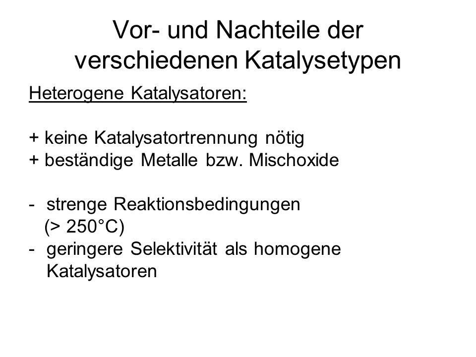 Vor- und Nachteile der verschiedenen Katalysetypen Heterogene Katalysatoren: + keine Katalysatortrennung nötig + beständige Metalle bzw. Mischoxide -s