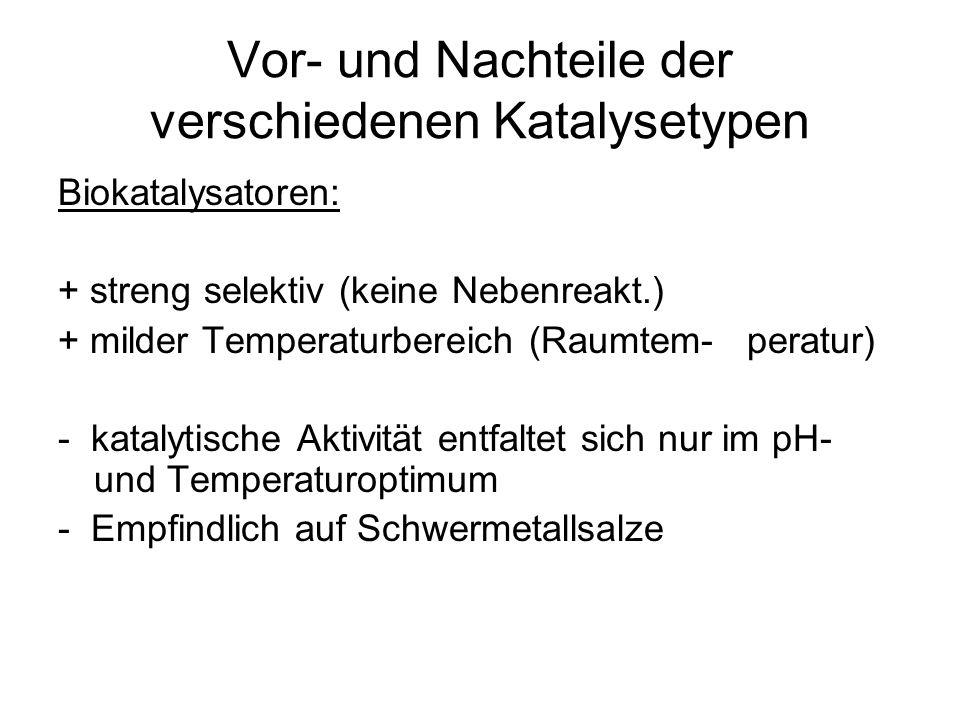Vor- und Nachteile der verschiedenen Katalysetypen Biokatalysatoren: + streng selektiv (keine Nebenreakt.) + milder Temperaturbereich (Raumtem- peratu