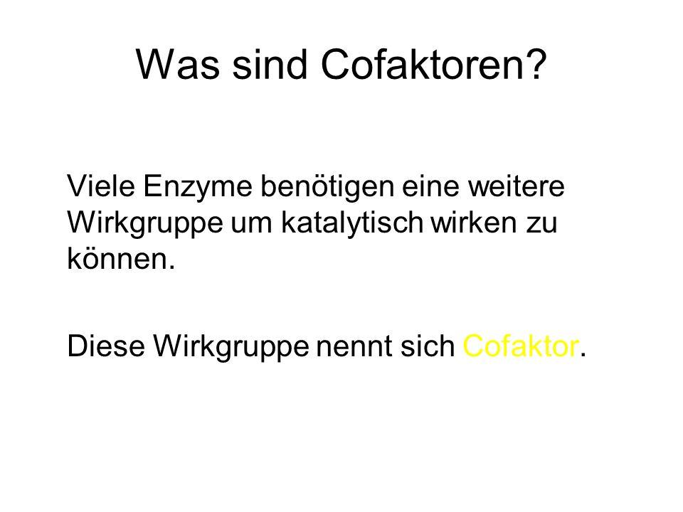 Was sind Cofaktoren.Ein Enzymprotein ohne den Cofaktor bezeichnet man als Apoenzym.