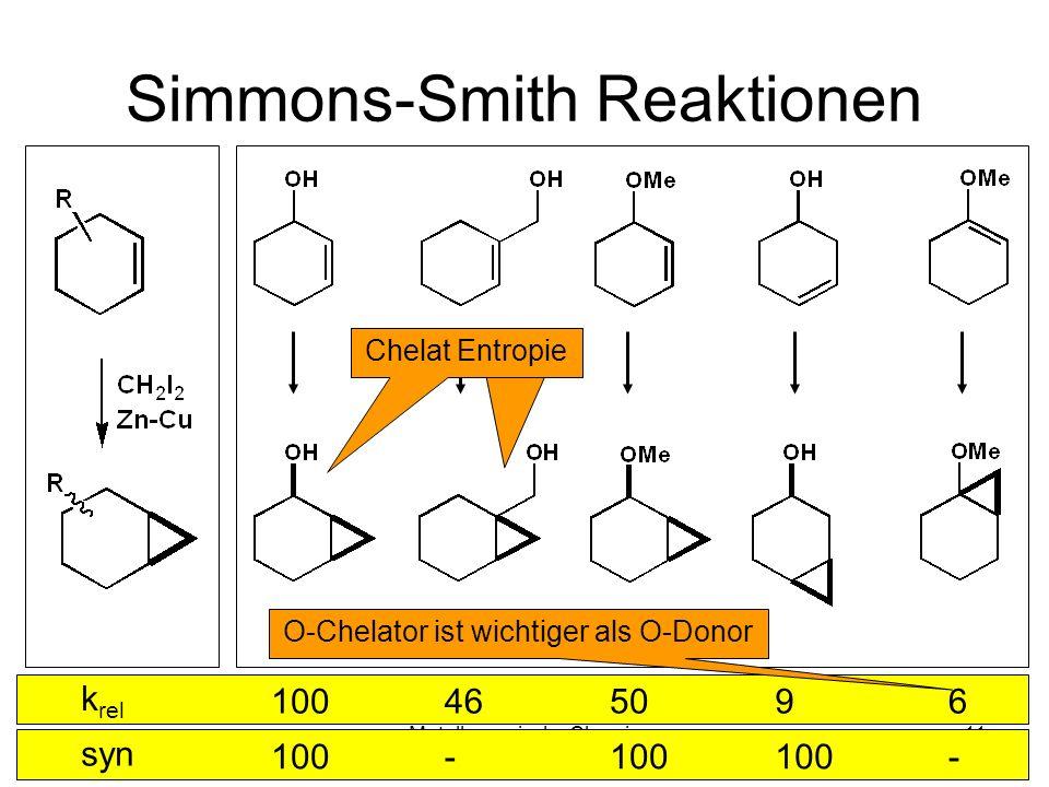Metallorganische Chemie11 Simmons-Smith Reaktionen k rel 100465096 syn 100- - O-Chelator ist wichtiger als O-Donor Chelat Entropie