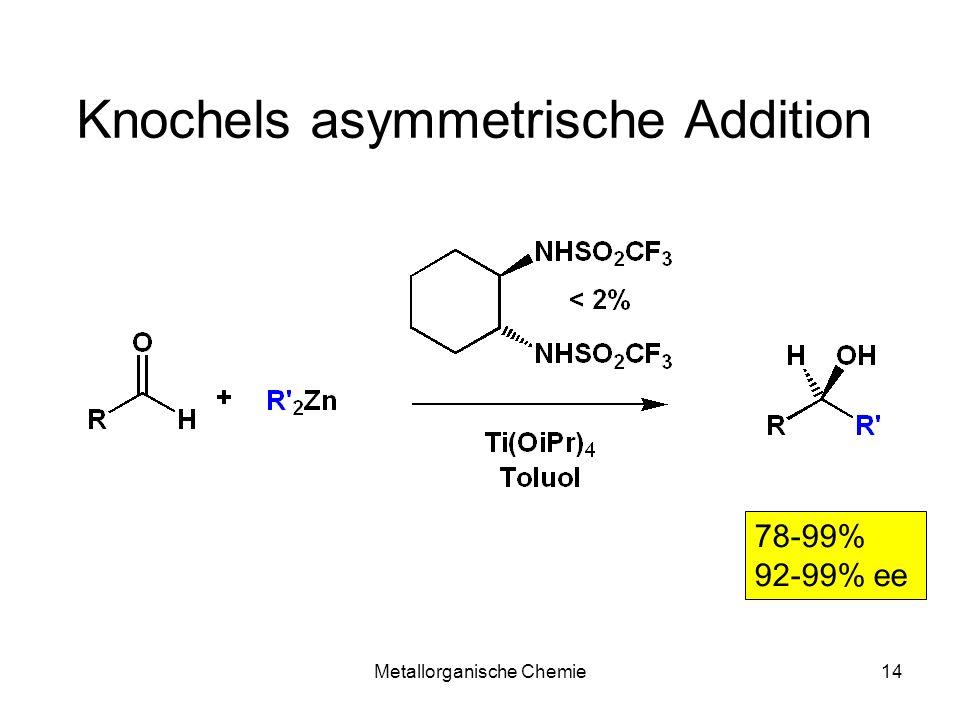 Metallorganische Chemie14 Knochels asymmetrische Addition 78-99% 92-99% ee