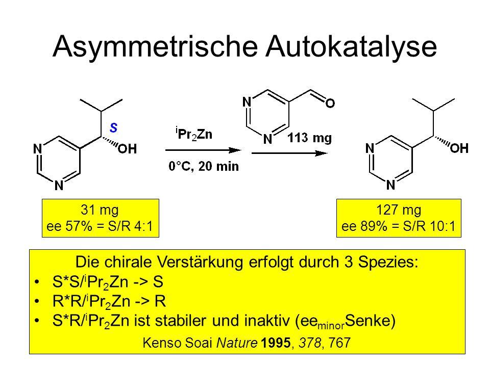 Metallorganische Chemie15 Asymmetrische Autokatalyse 31 mg ee 57% = S/R 4:1 127 mg ee 89% = S/R 10:1 Die chirale Verstärkung erfolgt durch 3 Spezies: