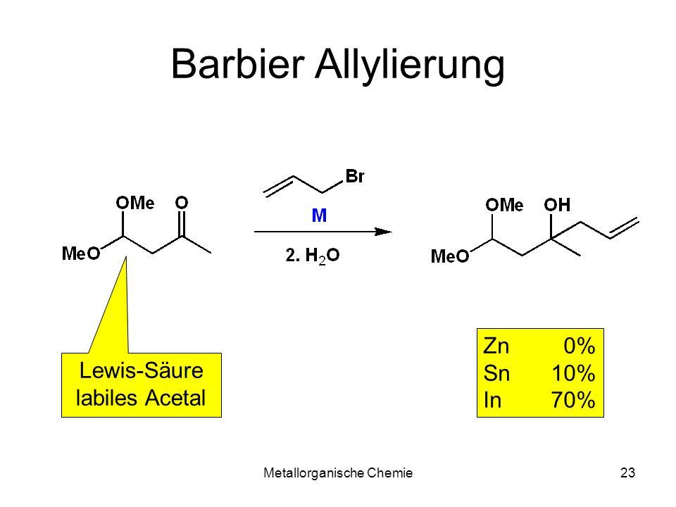 Metallorganische Chemie23 Barbier Allylierung Zn 0% Sn 10% In 70% Lewis-Säure labiles Acetal