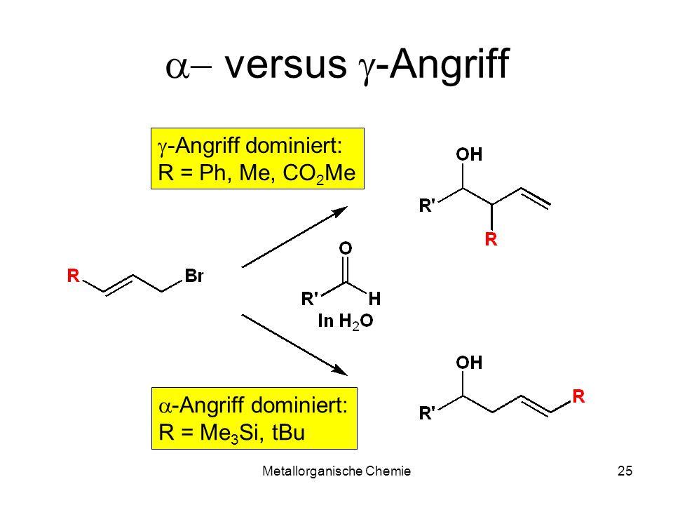 Metallorganische Chemie25 versus -Angriff -Angriff dominiert: R = Ph, Me, CO 2 Me -Angriff dominiert: R = Me 3 Si, tBu