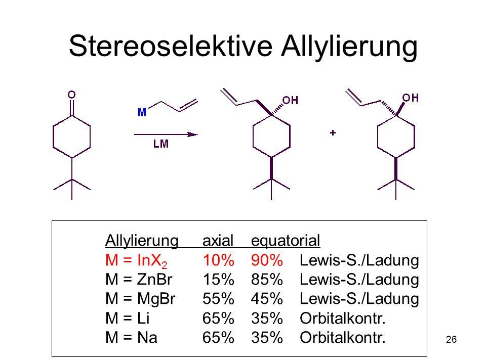 Metallorganische Chemie26 Stereoselektive Allylierung Allylierungaxialequatorial M = InX 2 10%90%Lewis-S./Ladung M = ZnBr 15%85%Lewis-S./Ladung M = Mg