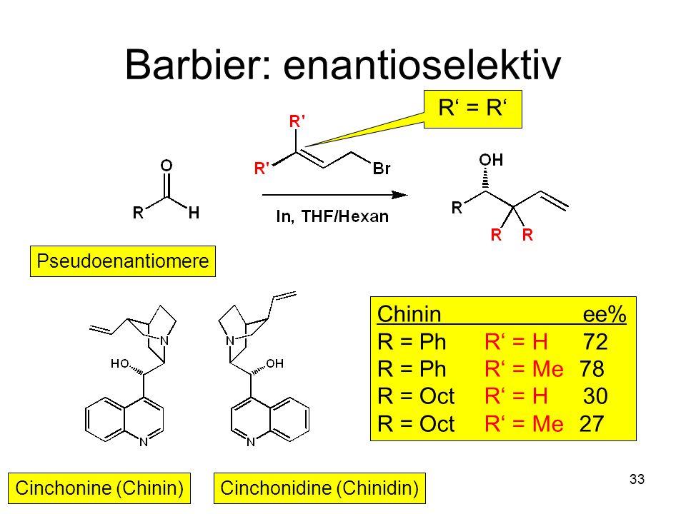 Metallorganische Chemie33 Barbier: enantioselektiv Pseudoenantiomere Cinchonine (Chinin)Cinchonidine (Chinidin) Chininee% R = Ph R = H72 R = Ph R = Me