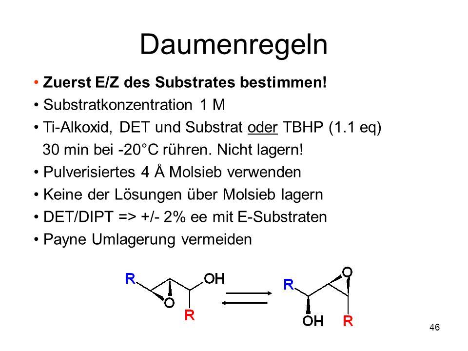 Metallorganische Chemie45 Kinetische Racematspaltung Ti(OiPr) 4 10% tBuOOH (+)-DET 11% DCM, -20°C, 4 Å K rel 100 50 20 10 5 Produkt 10 K rel 100 20 5 3 5 SM ee% 94% ee 20% yield